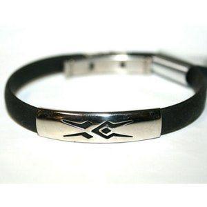 Fashion Bracelet Silver Slide Ethnic Black Rubber